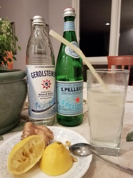 Homemade ginger lemon soda