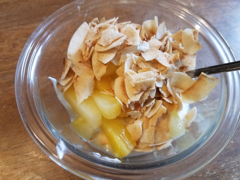 Pineapple and cinnamon toasted coconut flakes