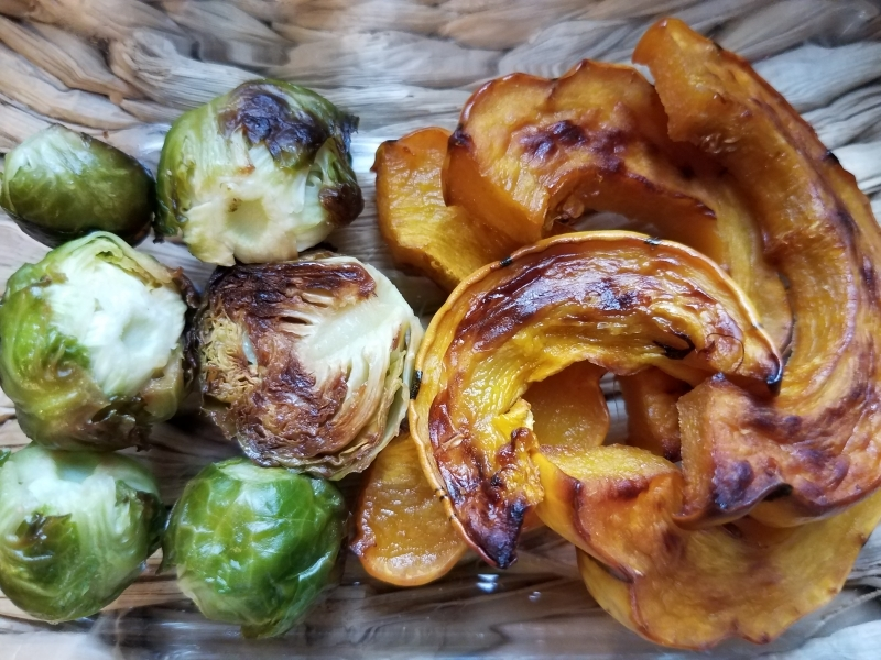 Roasted brussel sprouts and Delicata squash