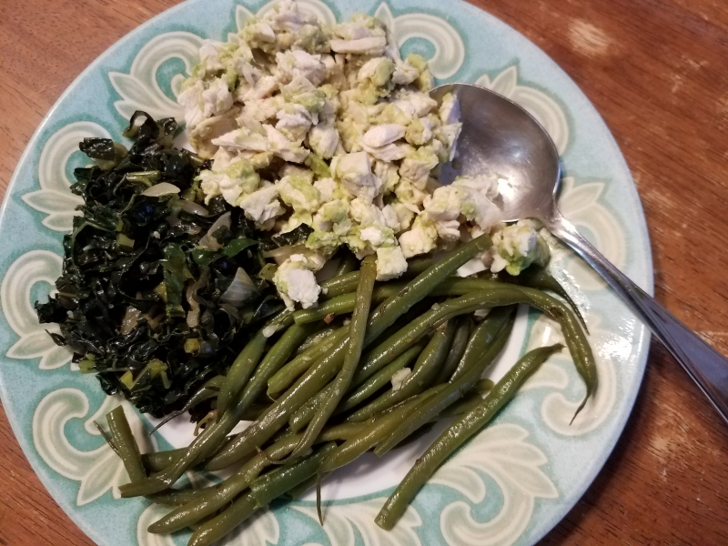 Chicken salad and greens