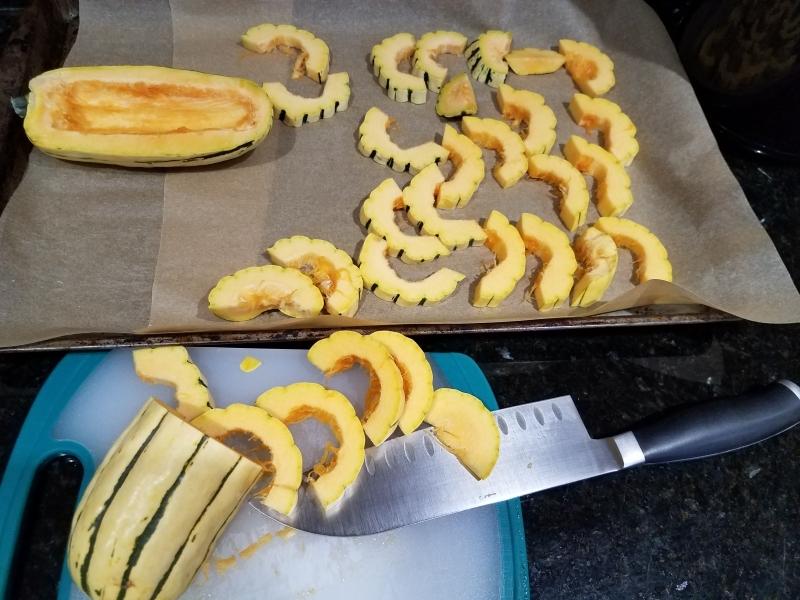 Delicata squash prep