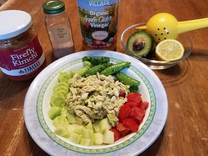 Chicken salad and veggies