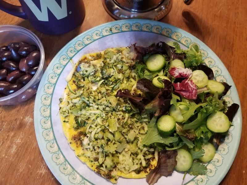 Veggie omelet anf fresh salad
